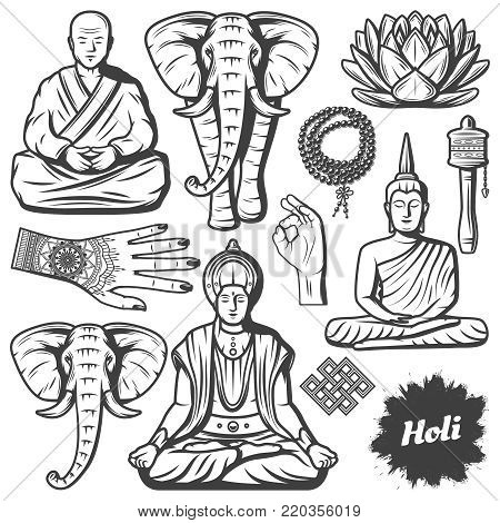 Vintage Buddhism religion elements set with Buddha monk elephant rosary religious beads lotus flower hands Tibetan prayer wheel isolated vector illustration