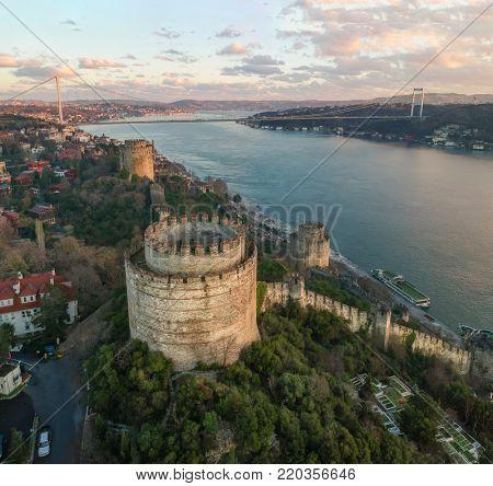 Aerial view of Rumeli Castle and Fatih Sultan Mehmet Bridge in Istanbul Turkey