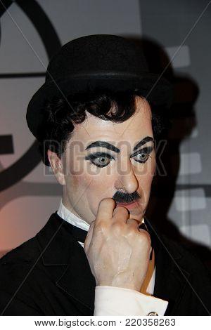 London, - United Kingdom, 08, July 2014. Madame Tussauds in London. Waxwork statue of Charlie Chaplin.