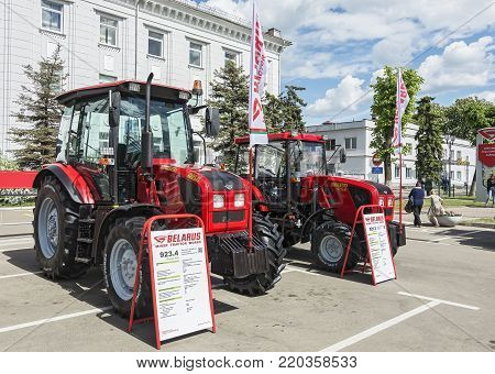 Belarus, Minsk - 27.05.2017: Exhibition samples of tractors near the Minsk Tractor Plant