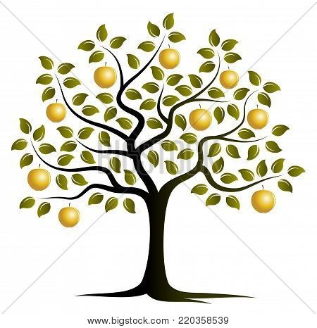 vector apple tree with golden apples isolated on white background
