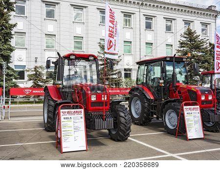 Belarus, Minsk - 05/27/2017: Exhibition of tractors near the Minsk Tractor Plant