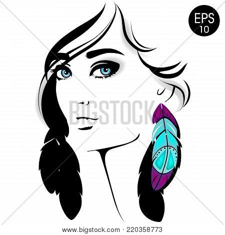Woman face. Vector fashion portrait of pretty girl with blue eyes and color feather for your design