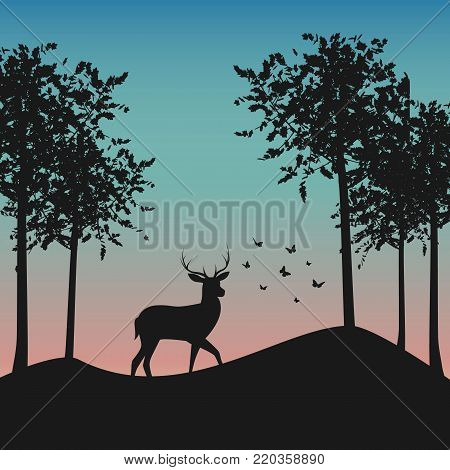 Beautiful landscape background with deer. Vector stock.