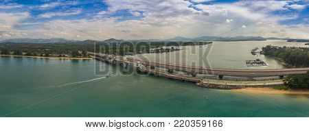 Panorama Aerial View Sarasin Bridge Phuket