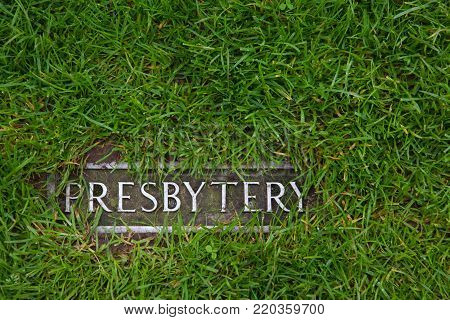 Presbytery - a mark in grass indicating where the ruins of the presbytery are standing
