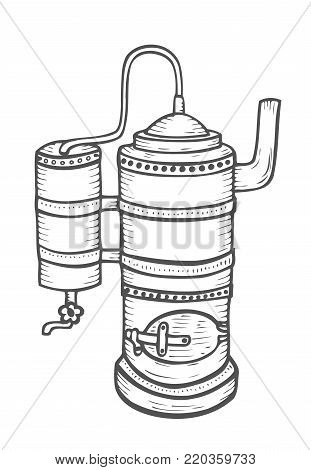 Distillation apparatus sketch. Hooch vector. retro vintage hand drawn illustration