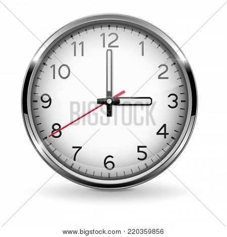 Clock. Three o'clock. Metal watch with arabic numerals. Vector 3d illustration isolated on white background