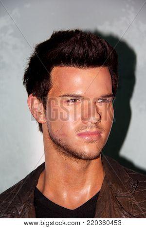 London, - United Kingdom, 08, July 2014. Madame Tussauds in London. Waxwork statue of Taylor Lautner.
