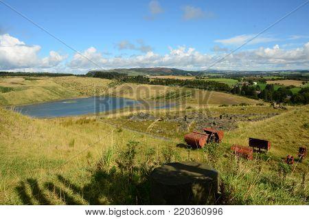A view across an abandoned opencast mining regeneration site near Kelty, Fife.