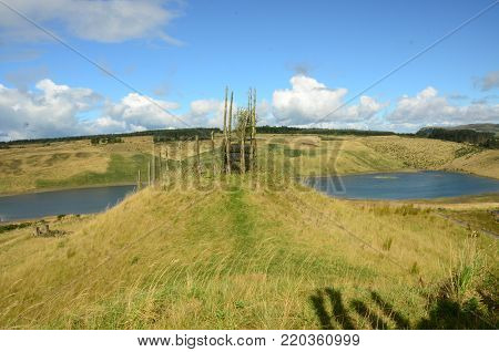 A view across a former opencast mining site and the abandoned regeneration plan