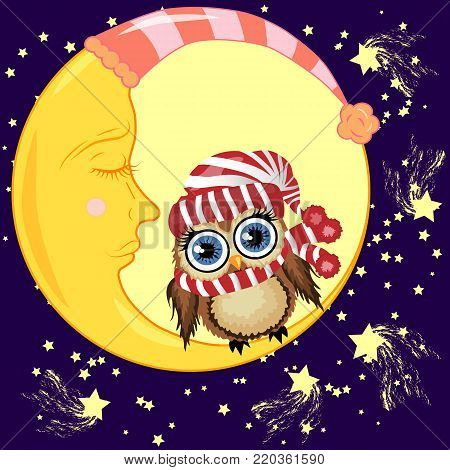 A lovely cartoon brown owl in a red hat and scarf sits on a drowsy crescent moon against the background of the night sky with stars