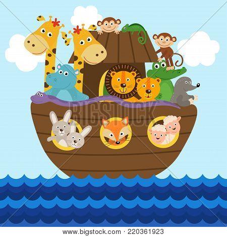 Noah's ark full of animals aboard  - vector illustration, eps