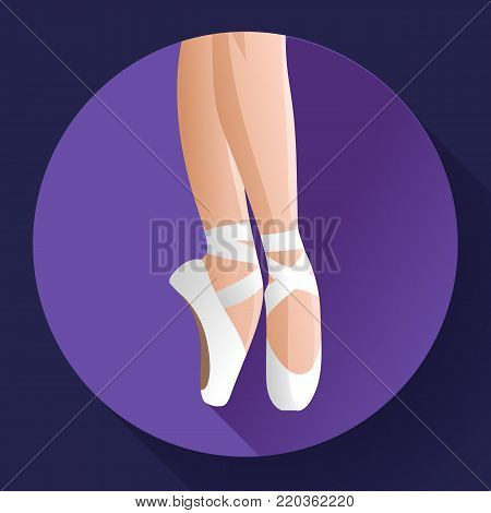 Ballet icon White pointes female ballet shoes flat Vector illustration of gym ballet shoes standing on tiptoes.