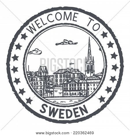 Welcome to Sweden. Black postal stamp, round postmark with Stockholm sightseeings. Vector illustration isolated on white background poster