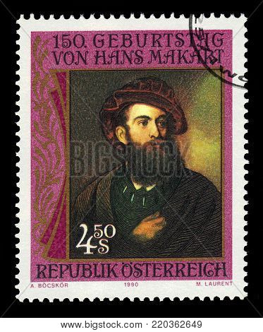 AUSTRIA - CIRCA 1990: a stamp printed in  Austria shows self portrait by Hans Makart, was a 19th-century austrian academic history painter, circa 1990