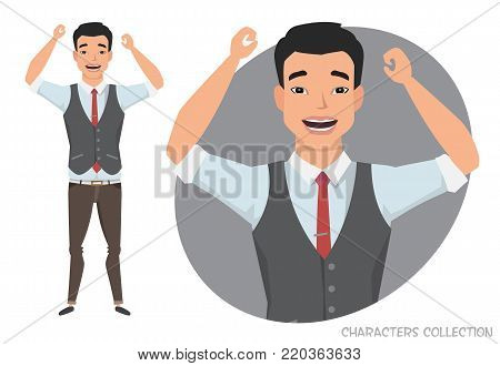 The asian guy is happy and smiling. Cartoon style man. Emotion of joy and glee on the man face. The man portrait.