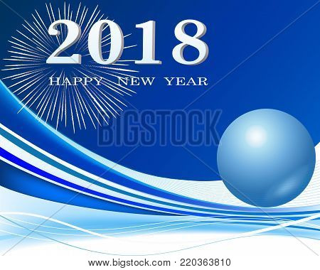 Happy New Year 2018 background decoration. Greeting card design.