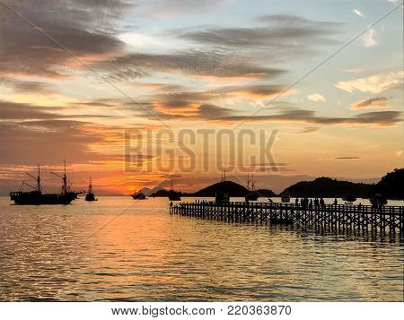 Sunset at Labuan Bayo on Flores in Indonesia