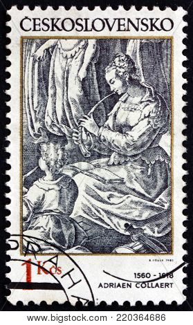 CZECHOSLOVAKIA - CIRCA 1982: a stamp printed in Czechoslovakia shows woman flautist, engraving by Adriaen Collaert, Flemish designer and engraver, circa 1982