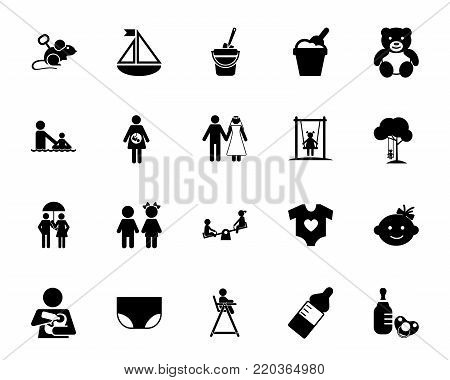 Childhood icon set. Baby, nursery, childcare. Children concept. Can be used for topics like family, parenthood, planning for baby poster
