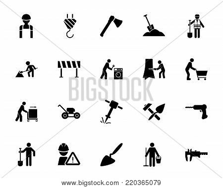 Construction and repair icon set. Can be used for topics like occupation, roadworks, maintenance, service