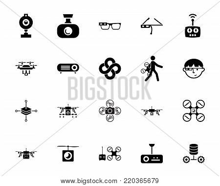 Drones and technology icon set. Can be used for topics like device, equipment, innovation, rotorcraft