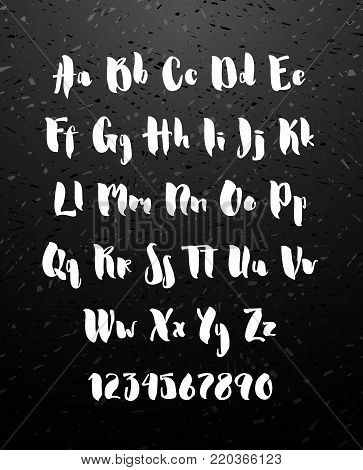 Handwritten brush style modern cursive font isolated on chalkboard background. Textured handletterered latin font letters and numbers Vector illustration stock vector.