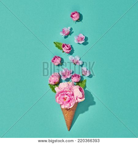 Ice Cream Cone with Bouquet of Flowers. Spring Summer Floral concept. Pink Roses. Vanilla Color. Trendy fashion Style. Minimal. Wedding bride set. Vintage