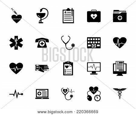 Hospital icon set. Clinic, doctor, diagnostics. Medicine concept. Can be used for topics like service, healthcare, medicare