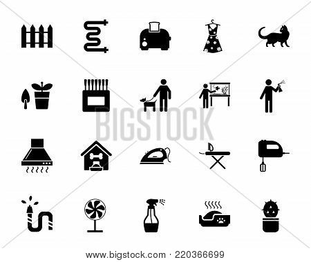 Household icon set. Can be used for topics like housework, spring cleaning, appliance, home