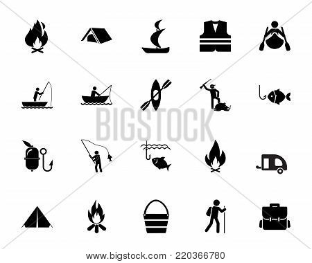 Hunting and fishing icon set. Hiking, travel, camping. Outdoor activity concept. Can be used for topics like leisure, recreation, weekend