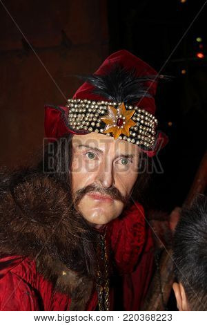 London, - United Kingdom, 08, July 2014. Madame Tussauds in London. Waxwork statue of Vlad the Impaler