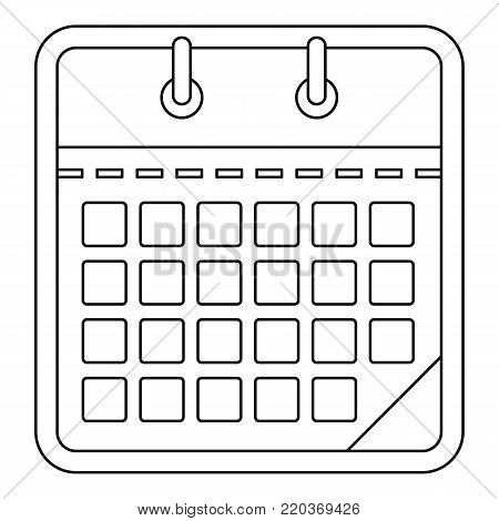 One calendar icon. Outline illustration of one calendar vector icon for web