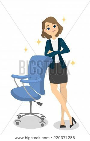 Isolated confident smiling businesswoman leaning on office chair.