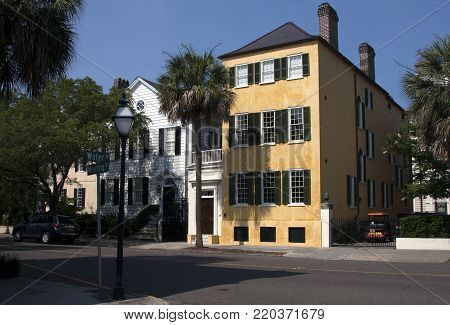 Traditional colonial style homes near the intersection of Water and Meeting Streets in historic Charleston, South Carolina