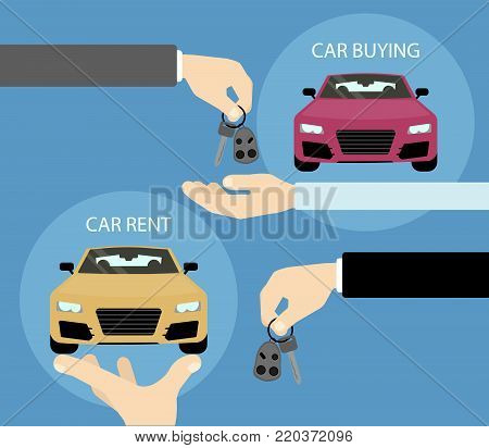 Car buy or rent. Hands with cars and keys.