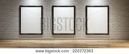 White canvases on the wall of the gallery 3d render