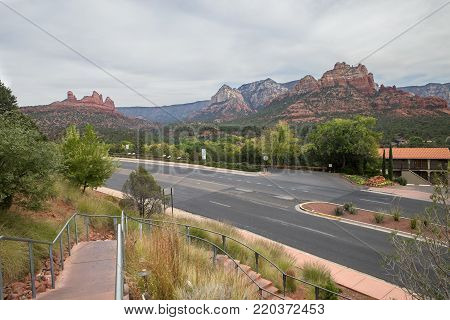 Looking down at the highway with the scenic mountains in the background