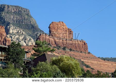 A unique red rock formation in the town of Sedona