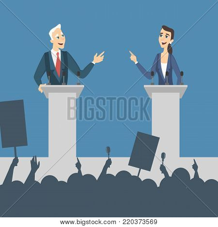 Political debates illustration. Man and woman politician discussing problems.