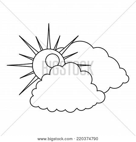 Cloudy icon. Outline illustration of cloudy vector icon for web