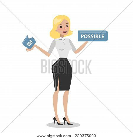 Woman tearing im possible sign. Confidence and possibility.