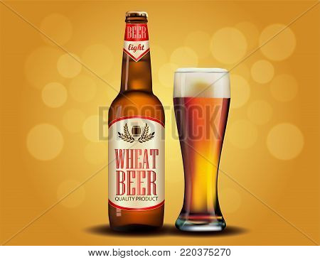 Beer advertisement design. Poster template for classic white beer ad package design. Vector glass bottle and cup with beer, 3d illustration