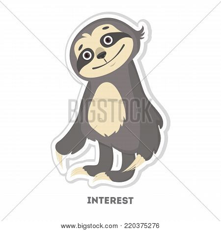 Interested sloth sticker. Isolated funny cartoon character.