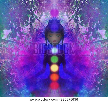 Human energy body, aura, chakras in meditation