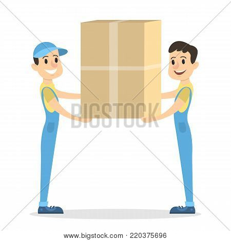 Isolated parcel movers delivering on white background.