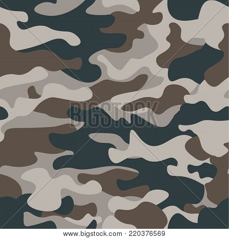 Modern fashion vector trendy camo pattern.Classic clothing style masking camo repeat print. Green brown black olive colors forest texture. Design element. Vector illustration