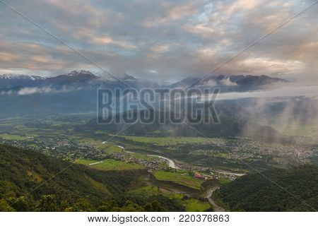 POKHARA, NEPAL- September 29, 2013: View of the city of Pokhara. Pokhara is the starting point for most of the treks in the Annapurna area.