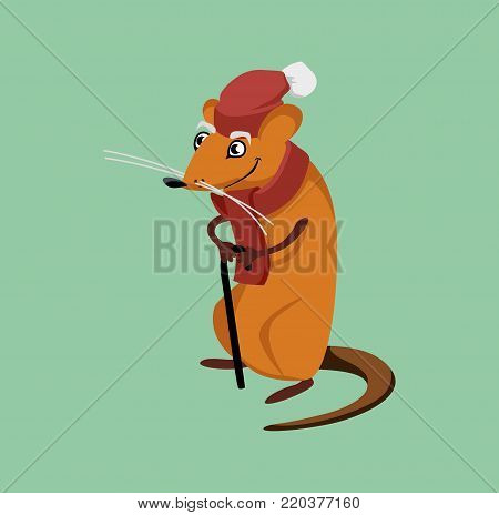 wise old rat holding a crutch. cartoon character. vector illustration